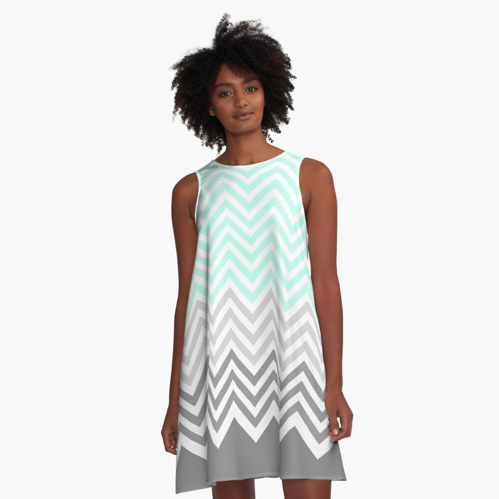 chevron teal grey A-Line Dress Front