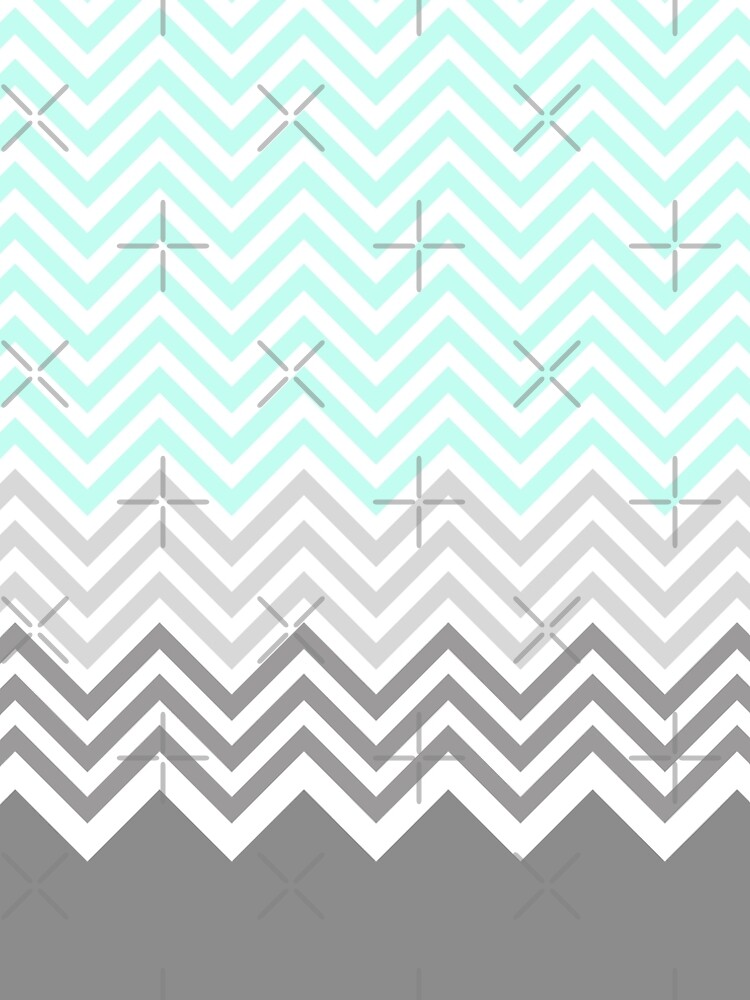 chevron teal grey by gossiprag