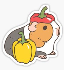 Bell pepper, cherry tomatoes and Guinea pigs pattern  Sticker