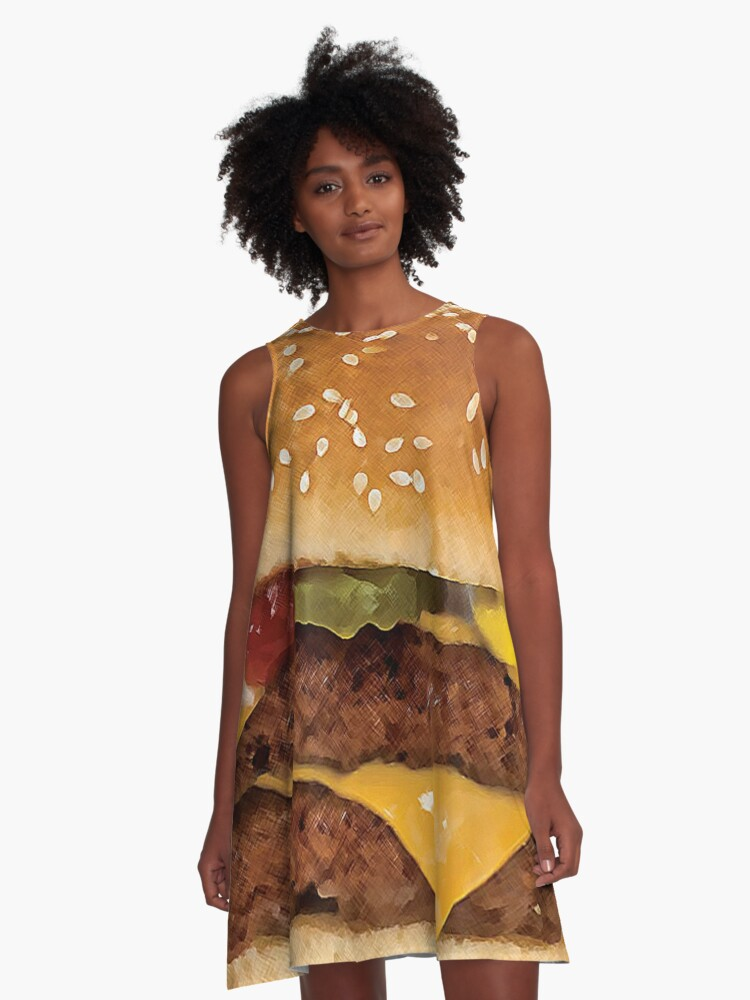 Double Cheeseburger Dream A-Line Dress Front