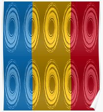 Ten whirlpools in three primary colors Poster