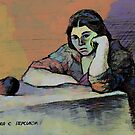 A Girl with a Peach by Oleg Atbashian
