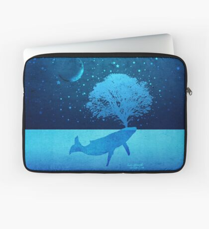 Whimsical Whale Spouting Tree Laptop Sleeve
