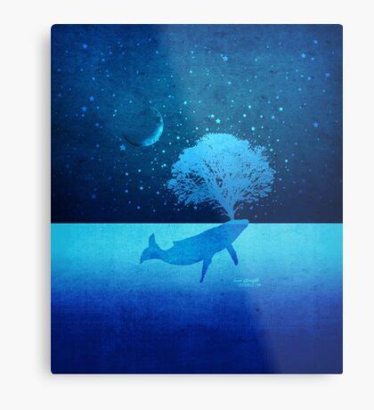 Whimsical Whale Spouting Tree Metal Print
