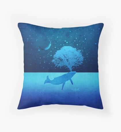 Whimsical Whale Spouting Tree Floor Pillow