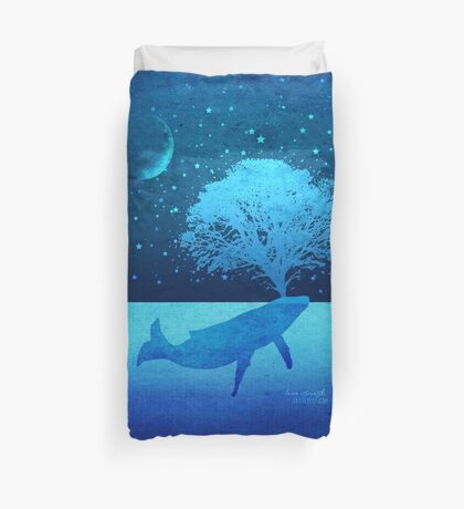 Whimsical Whale Spouting Tree Duvet Cover