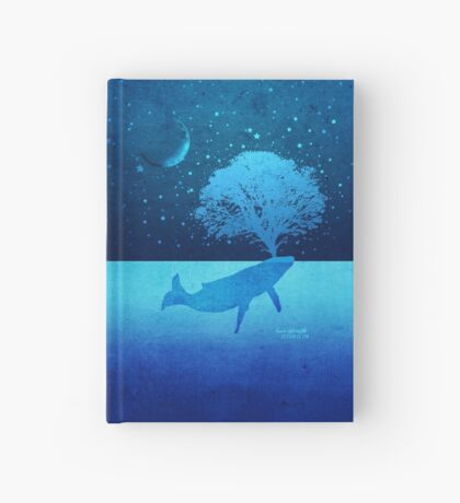 Whimsical Whale Spouting Tree Hardcover Journal