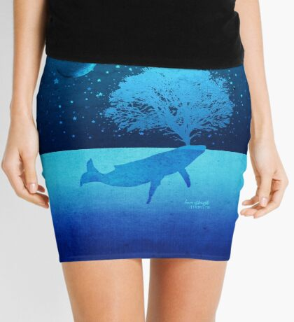 Whimsical Whale Spouting Tree Mini Skirt