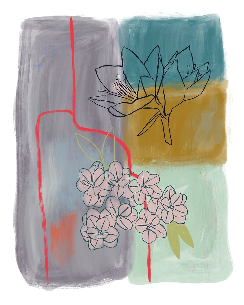 Abstract Lily Flower Painting by BirdsongPrints