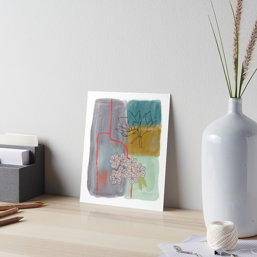 Abstract Lily Flower Painting Art Board Print