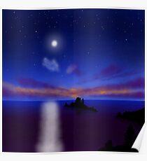 Moonlight Ocean Poster