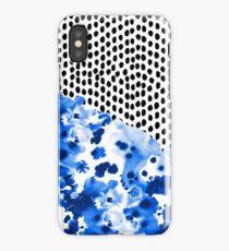 Monroe - India ink, indigo, dots, spots, print pattern, surface design iPhone Case/Skin