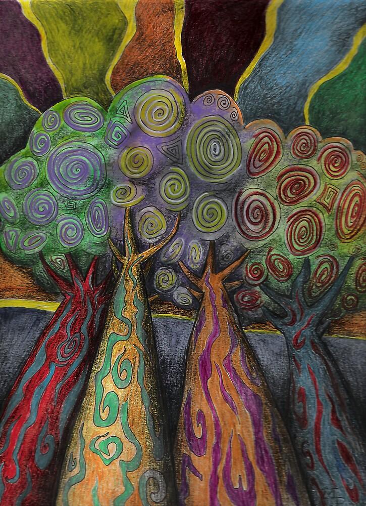 Four Trees by weirdpuckett