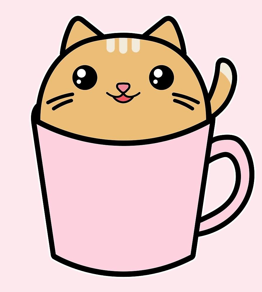 Cute Kawaii Cat Pink Coffee Cup\