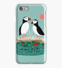 Puffins - Pair of Seabirds, Ocean, Sea Life, Coastal Art by Andrea Lauren iPhone Case/Skin