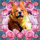 Corgi goes faste thru flowerms by STORMYMADE