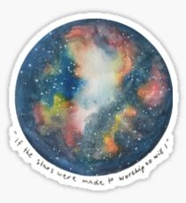 Aquarell Galaxy mit Hillsong Lyrics Sticker