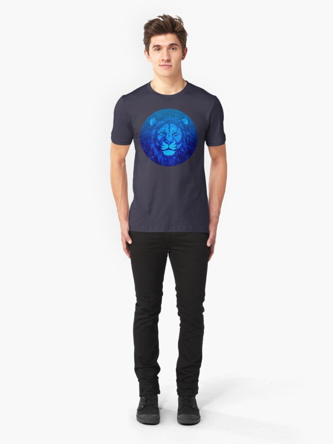 Alternate view of Blue Lion Bubble portrait by Cheerful Madness!! Slim Fit T-Shirt