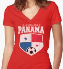 2018 Panama Soccer Team World Football Jersey Cup Women's Fitted V-Neck T-Shirt