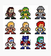 8-bit 80s Cartoon Heroes Photographic Print