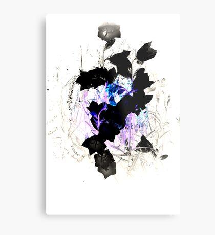 Blue Pink Black Flower Twist Metal Print