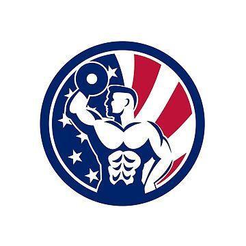 American Fitness Gym USA Flag Icon by patrimonio