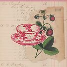Mixed Media Art Berries Teacup Antique Handwritten Ledger Paper Collage by Jillian Crider