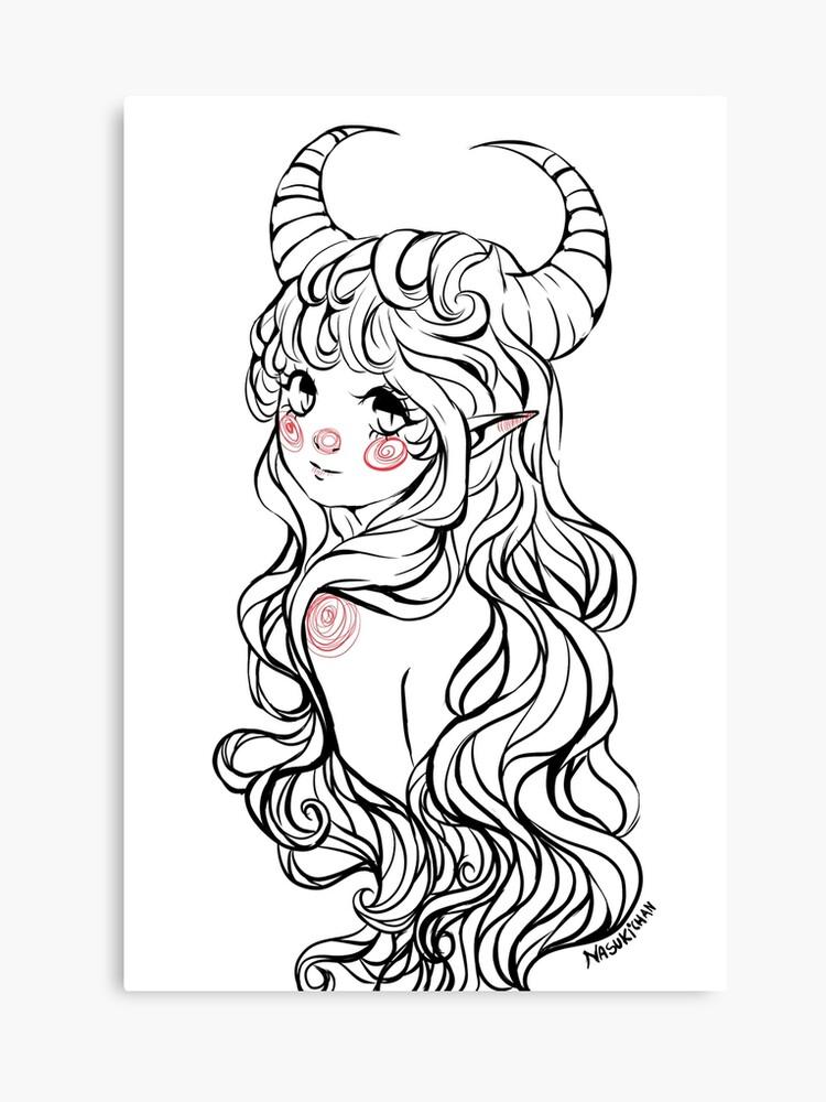 Cute Demon Girl Canvas Print By Nasukichan Redbubble