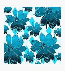 Lily and Magnolia Blue Floral Photographic Print