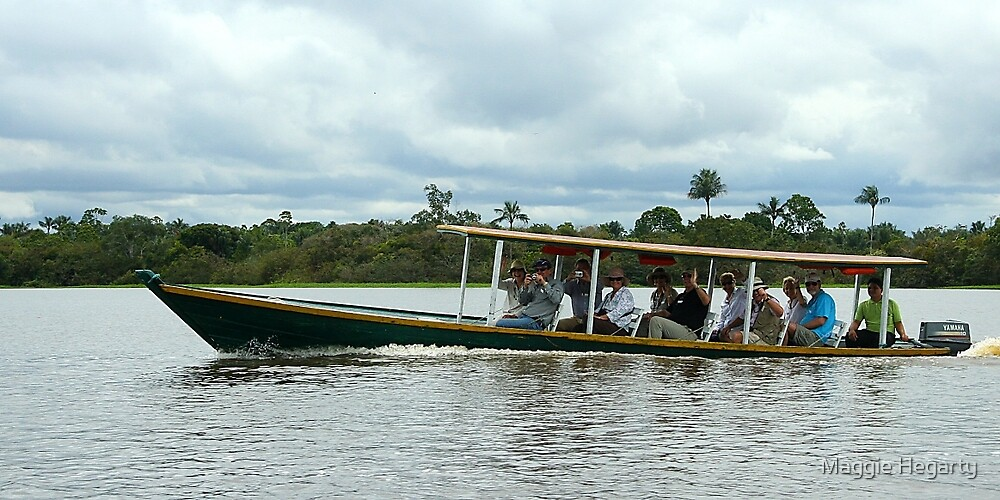 Long boat on the Amazon river by Maggie Hegarty