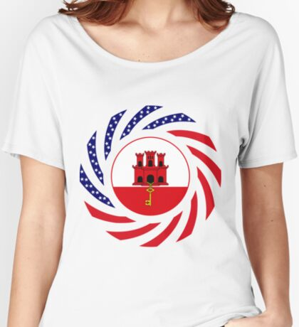 Gibraltarian American Multinational Patriot Flag Series Relaxed Fit T-Shirt