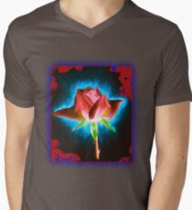 Rose on Black Mens V-Neck T-Shirt