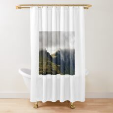 Cloudfall - clouds over the Trotternish ridge - Skye, Scotland Shower Curtain