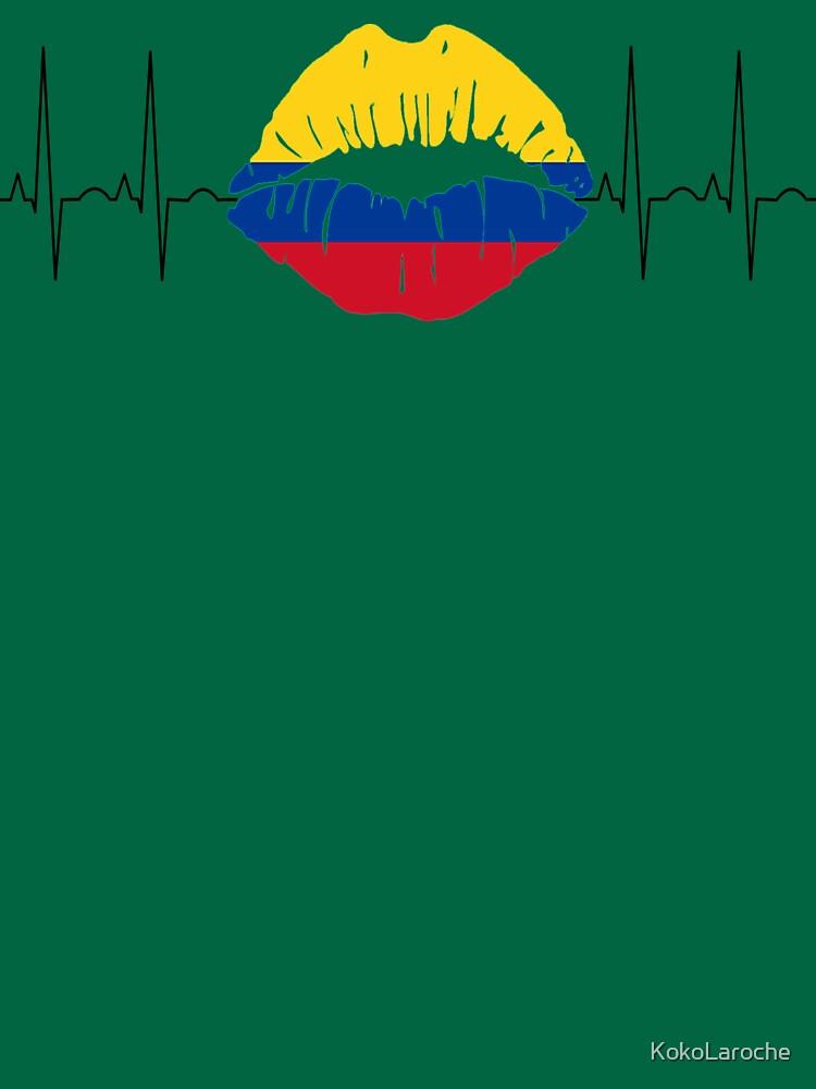 Colombia Kiss Heartbeat Flag Flag Football T-Shirt, Colombia Football Team Championship by KokoLaroche