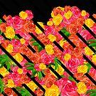 Mutiger tropischer Frühling mit Streifen mit Blumen von creativevibe