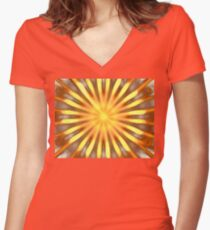 Tangerine Rays Women's Fitted V-Neck T-Shirt