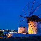 Windmills in Chora - Mykonos, Greece by Yen Baet