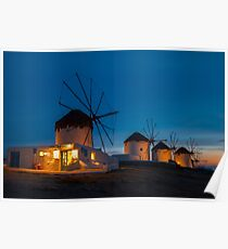 Windmills in Chora - Mykonos, Greece Poster