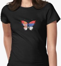 Serbian Flag Butterfly Womens Fitted T-Shirt