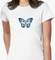 Quebec Flag Butterfly T-shirt col V femme