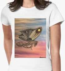 White Anglo Saxon butterfly  Women's Fitted T-Shirt