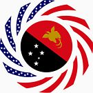 Papau New Guinean American Multinational Patriot Flag Series by Carbon-Fibre Media