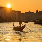 Gondola on the Grand Canal at Sunset in Venice, Italy by Yen Baet