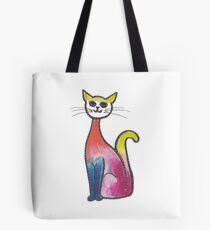 Blue Legged Elegant Sitting Cat Tote Bag