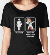 Special Education Teacher Dabbing Unicorn Teacher Appreciation Funny Dab Teaching Students First Last Day School Educators RedForEd Women's Relaxed Fit T-Shirt