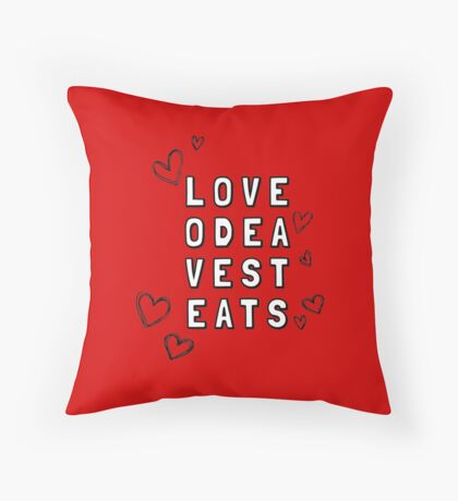 Love Odea Vest Eats Throw Pillow