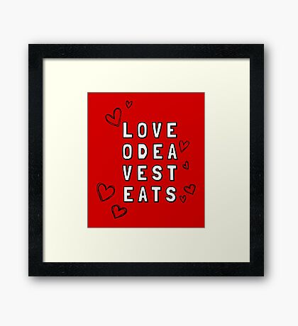 Love Odea Vest Eats Framed Print