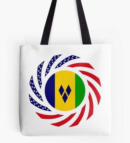 Saint Vincentian American Multinational Patriot Flag Series Tote Bag