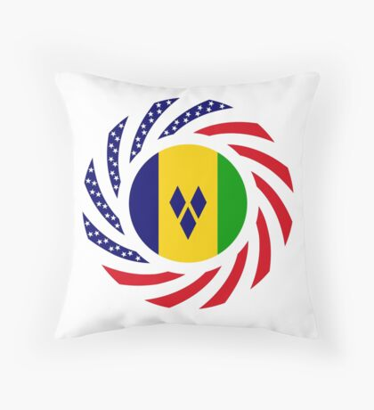 Saint Vincentian American Multinational Patriot Flag Series Throw Pillow