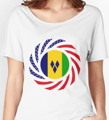 Saint Vincentian American Multinational Patriot Flag Series Relaxed Fit T-Shirt